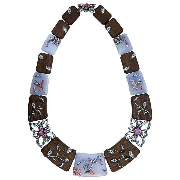 Laura Munder Lavender Jade Amaranth Wood Pink Sapphire and Diamond Necklace For Sale