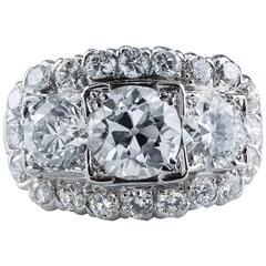 Antique 4.06 Carat Diamond Platinum Ring