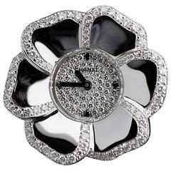 Chanel White Gold Diamond Camelia Flower Jewelry Dress Watch