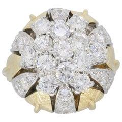 Two-Tone Gold Diamond Flower Ring