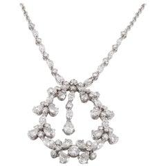 Diamond Drop Pendant Necklace in 18K White Gold