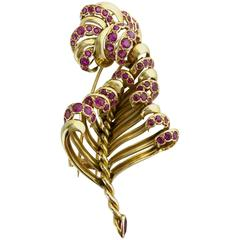 1940s Ruby Gold Leaf Brooch
