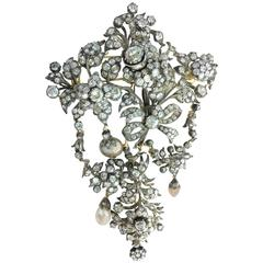 French Early 19th Century En Tremblant Diamond Pearl Stomacher Brooch