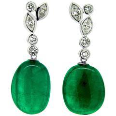 20 Carat Natural Emerald Drop White Diamonds Platinum Earrings