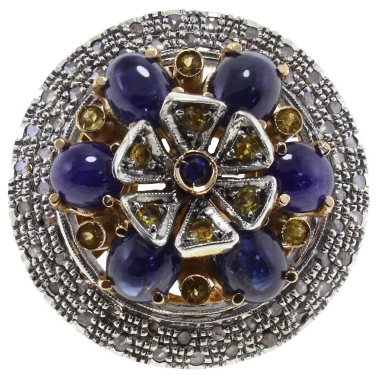 ct 12,53 Sapphire Diamond  Gold and Silver Ring
