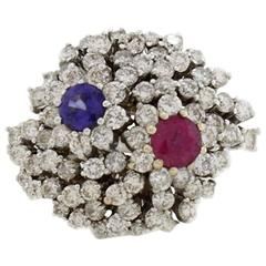 KT 2,49 Diamond,and KT 1,13 Sapphire Ruby Gold  Ring