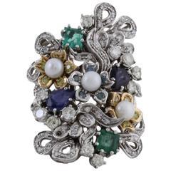 Diamond Pearl Precious Stone Gold  Ring