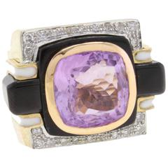 Luise Amethyst Onyx Diamond Ring