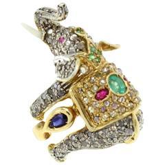 Luise Diamond Sapphire Ruby Emerald Elephant Ring