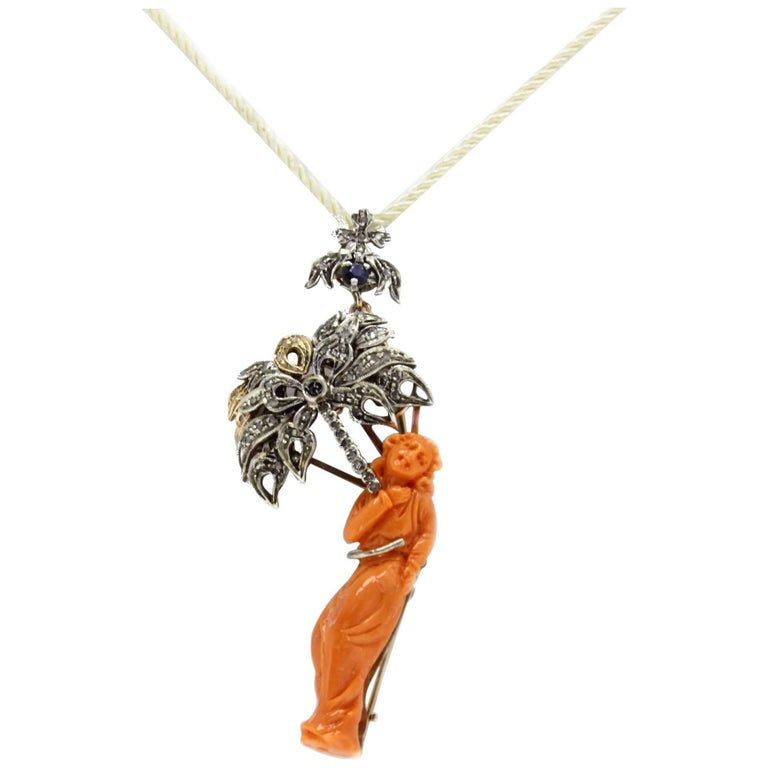 Engraved Body on Orange Coral,Sapphires,Diamonds, Gold/Silver Brooch/Pendant For Sale