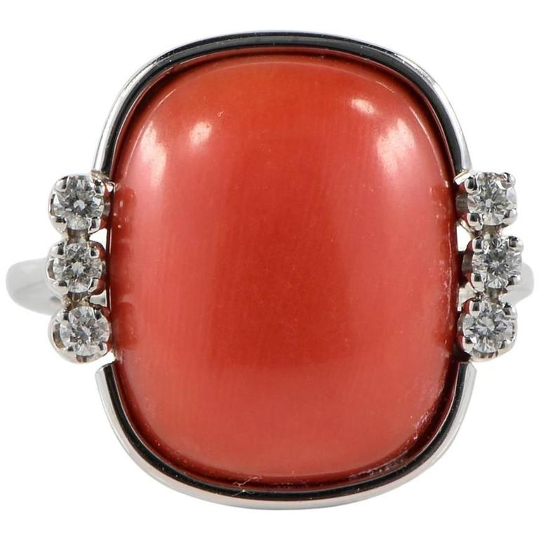 Coral Cabochon and Diamond Ring
