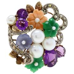 Amethyst Diamond Pearl Gold Ring
