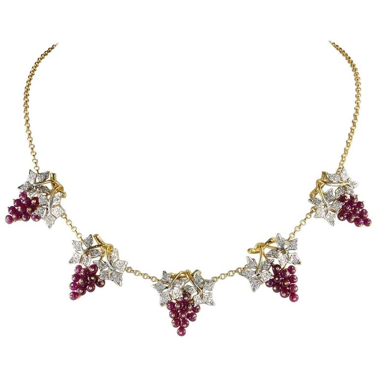 Natural Ruby and Diamond Grape Necklace For Sale