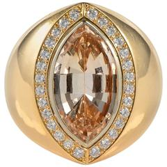Fine Imperial Topaz and Diamond Ring