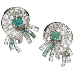 J. E. Caldwell Emerald Diamond and Platinum Earrings, Circa 1940