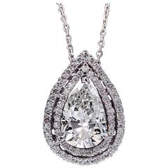 3.24 Carat EGL Certified Clarity Enhanced Pear Shape Diamond White Gold Pendant