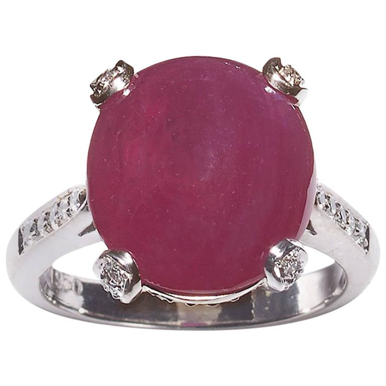 Cabochon Ruby and Diamond Ring