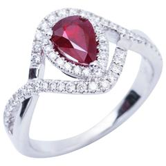 Pear Shape Ruby and Diamond Engagement Cocktail Ring 1.25 Carat