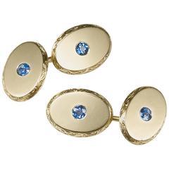 Montana Sapphire and Gold Cufflinks