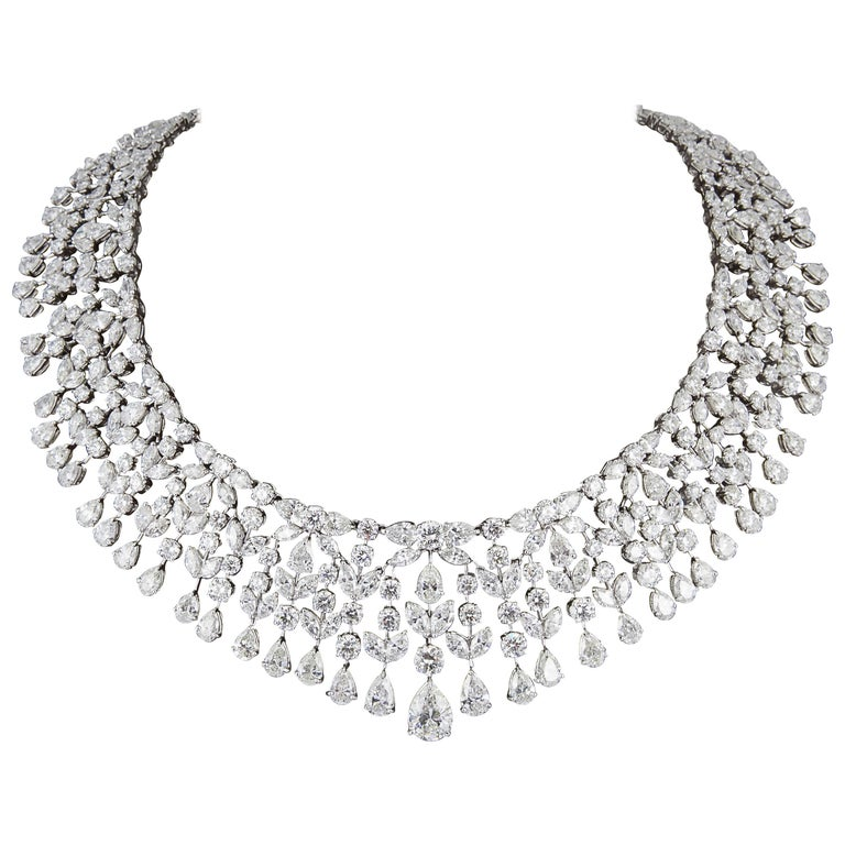 Magnificent Multi Shape Diamond Necklace For Sale
