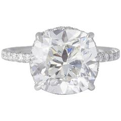 Rare 5 Carat Cushion Brilliant Cut GIA Certified Engagement Ring