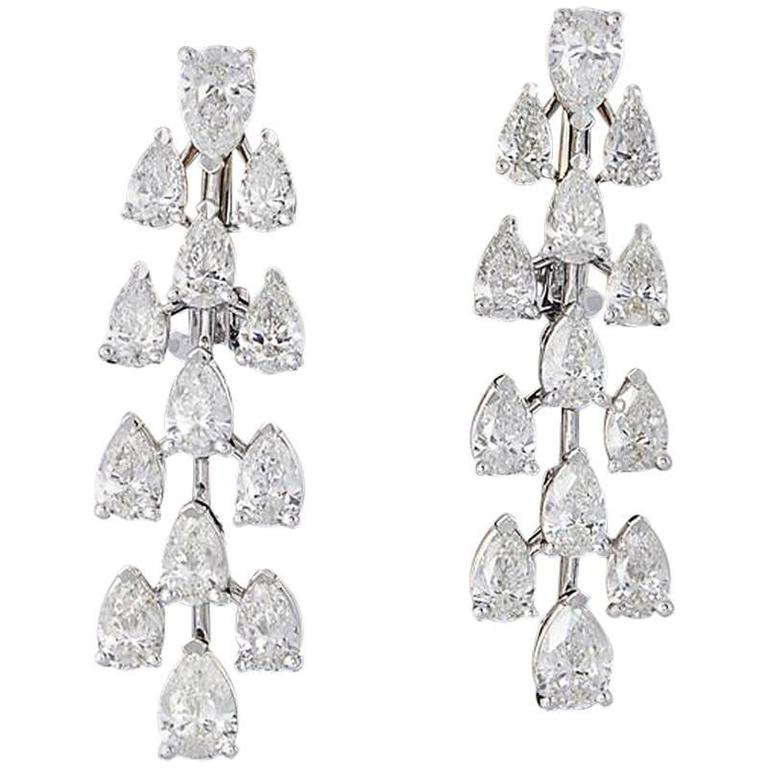 Pear Shape Diamond Gold Drop Earrings