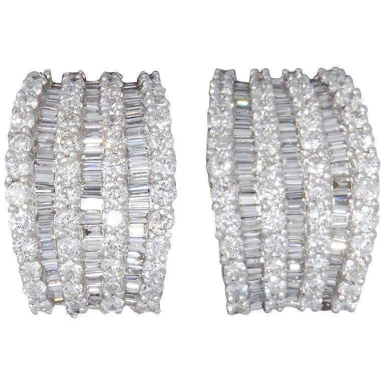 Baguette And Round Diamond Wide Huggie Hoop Earrings