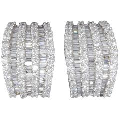Baguette and Round Diamond Wide Huggie Hoop Earrings