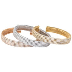 Trio of White, Yellow and Rose Gold Diamond Cuff Bracelets