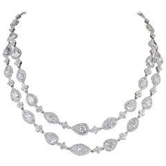 Two Row Multi Shape Diamond Necklace