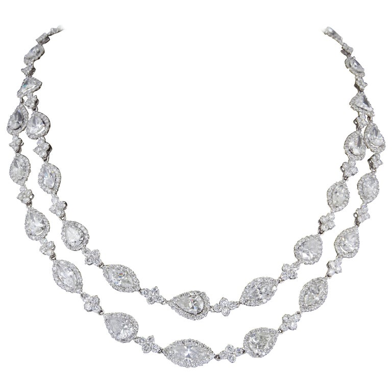 Two Row Multi Shape Diamond Necklace