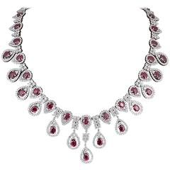 Ruby and Diamond Drop Necklace