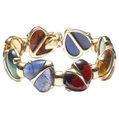 Multi Gem Gold Heart Bracelet