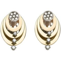 Gold and Diamond Hoops Earrings