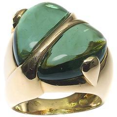 Green Tourmaline Gold Heart Ring