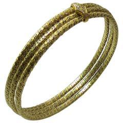 Set of Three Yellow and White Gold  Bangle Bracelets