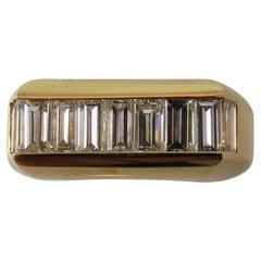 Contemporary  Yellow Gold Gents Baguette Diamond Band Ring