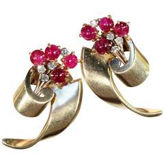 Retro Ruby Diamond Gold Earrings