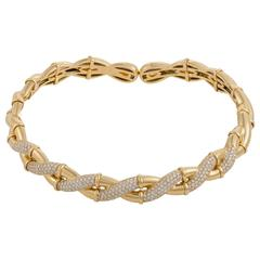 Boucheron Paris Diamond Yellow Gold Braided Collar Necklace