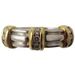 Diamond Yellow Gold Platinum Band Ring