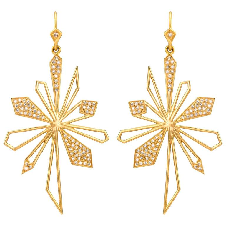 Lauren Harper .64 Carats Diamonds Yellow Gold Sunburst Earrings