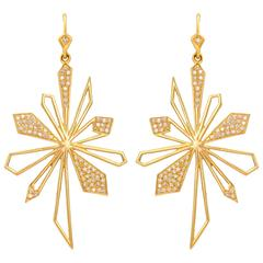 .64 Carats Diamonds and Gold Sunburst Earrings