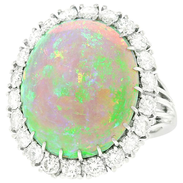 10 Carat Opal and Diamond Platinum Ring