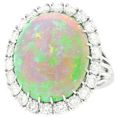 10 Carat Opal, Diamond and Platinum Ring
