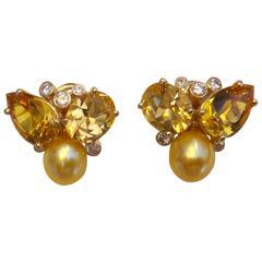 """Michael Kneebone Topaz Citrine Golden Pearl Diamond """"Confetti"""" Earrings"""