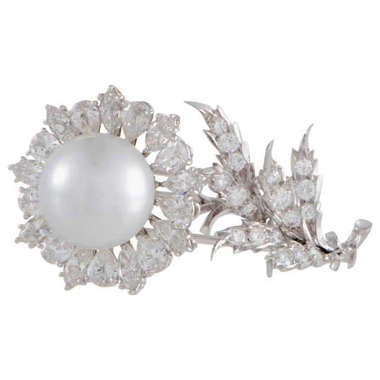 Buccellati Diamond Pearl White Gold Flower Brooch