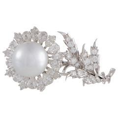 Buccellati Diamond Pearl White Gold Flower Brooch