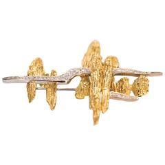"Late 1950s Yellow Gold Hammerman Brothers ""Mid-Century Dream"" Diamond Brooch Pin"