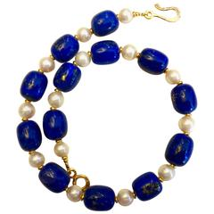 Michael Kneebone Lapis Lazuli Cultured Pearl Bead Necklace