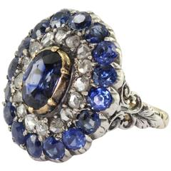 Blue Sapphire Rose Cut Diamond Ring